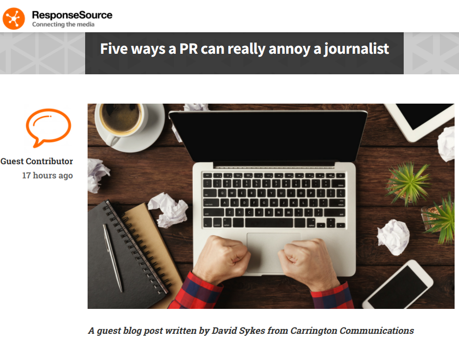 Response Source David Sykes article - how PRs annoy journalists