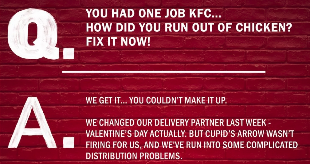 "KFC Chicken crisis FAQ ""You had one job"""