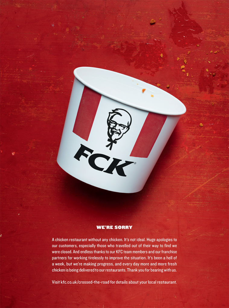 An empty KFC bucket with the letters FCK and an apology for the chicken crisis