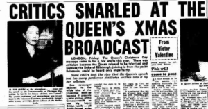"Clipping from The Argus December 1956 reads ""critics snarled at the Queen's xmas broadcast"""