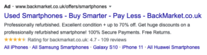 Example of Google Ad displaying ad extensions