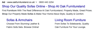 Example of sofa shop using sitelink extensions in Google Ad